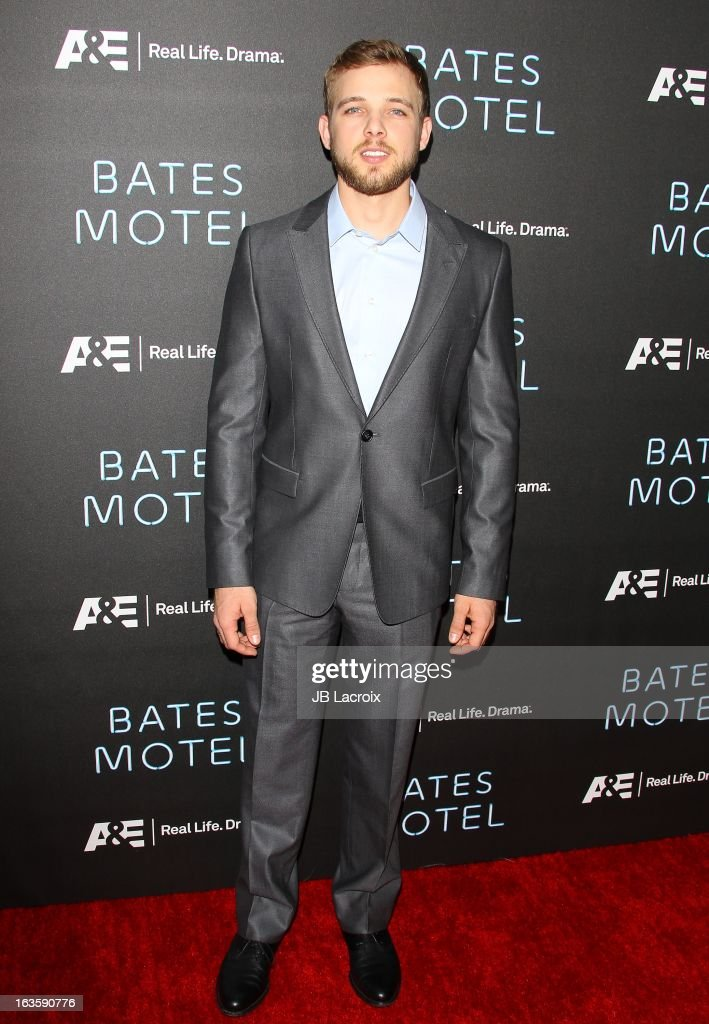 <a gi-track='captionPersonalityLinkClicked' href=/galleries/search?phrase=Max+Thieriot&family=editorial&specificpeople=2545974 ng-click='$event.stopPropagation()'>Max Thieriot</a> attends the A&E new series premiere of 'Bates Motel' at Soho House on March 12, 2013 in West Hollywood, California.