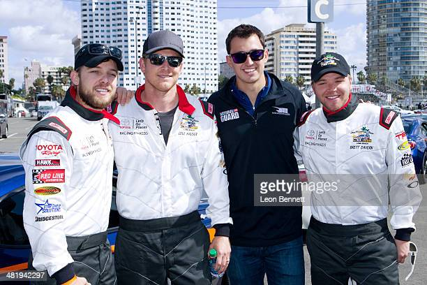 Max Thieriot Cole Hauser Guest and Brett Davern attended the 2014 Toyota Pro/Celebrity Race Press Day on April 1 2014 in Long Beach California