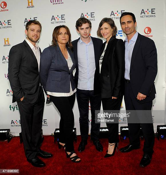 Max Thieriot Kerry Ehrin Freddie Highmore Vera Farmiga and Nestor Carbonell attend the 2015 AE Networks Upfront on April 30 2015 in New York City