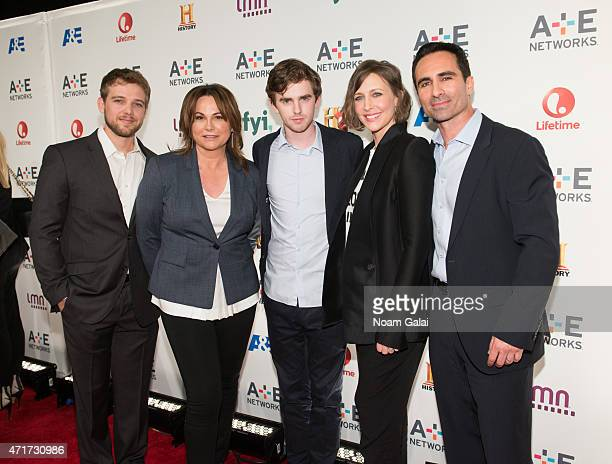 Max Thieriot Kerry Ehrin Freddie Highmore Vera Farmiga and Nestor Carbonell attend the 2015 AE Network Upfront at Park Avenue Armory on April 30 2015...