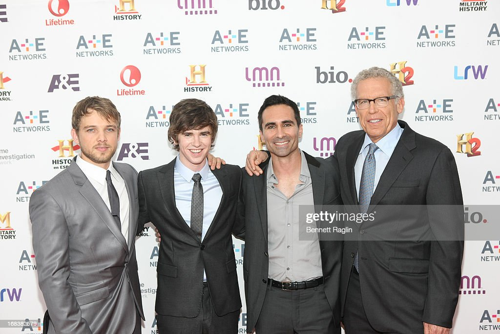 Max Thierlot, Freddie Highmore, Nestor Carbonell, producer Carlton Cuse attend the 2013 A+E Networks Upfront at Lincoln Center on May 8, 2013 in New York City.