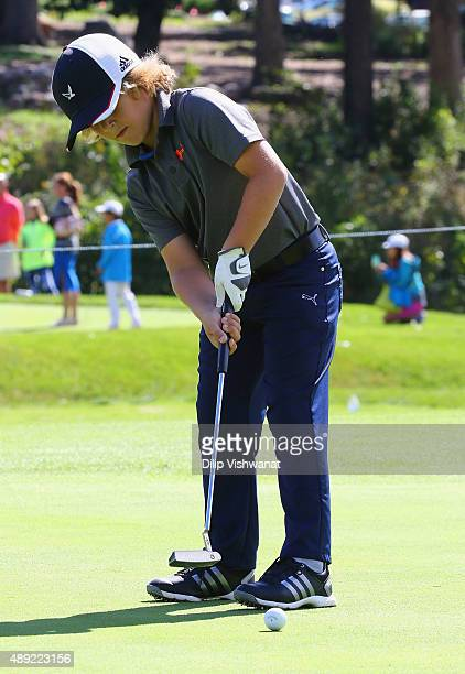 Max Vander Moien putts in the boys 79 putting competition during the 2015 Drive Chip and Putt Tournament at Medinah Country Club on September 19 2015...