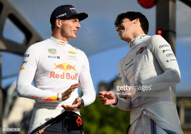 Max Verstappen and Lance Stroll on stage at the F1 Live in London event at Trafalgar Square on July 12 2017 in London England F1 Live London the...