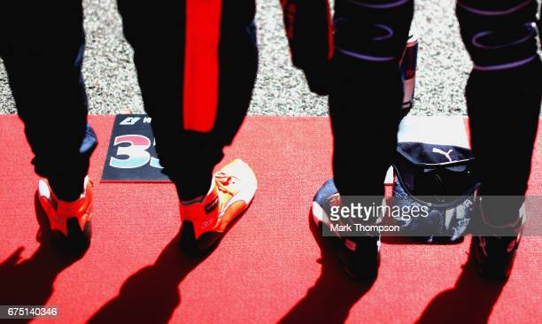 Max Verstappen of Netherlands and Red Bull Racing and Daniel Ricciardo of Australia and Red Bull Racing on the grid during the Formula One Grand Prix...