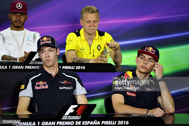 Max Verstappen of Netherlands and Red Bull Racing and Daniil Kvyat of Russia and Scuderia Toro Rosso in the Drivers Press Conference during previews...