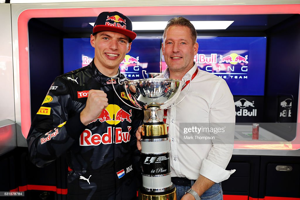 Max Verstappen of Netherlands and Red Bull Racing celebrates his first F1 win with father Jos Verstappen during the Spanish Formula One Grand Prix at Circuit de Catalunya on May 15, 2016 in Montmelo, Spain.