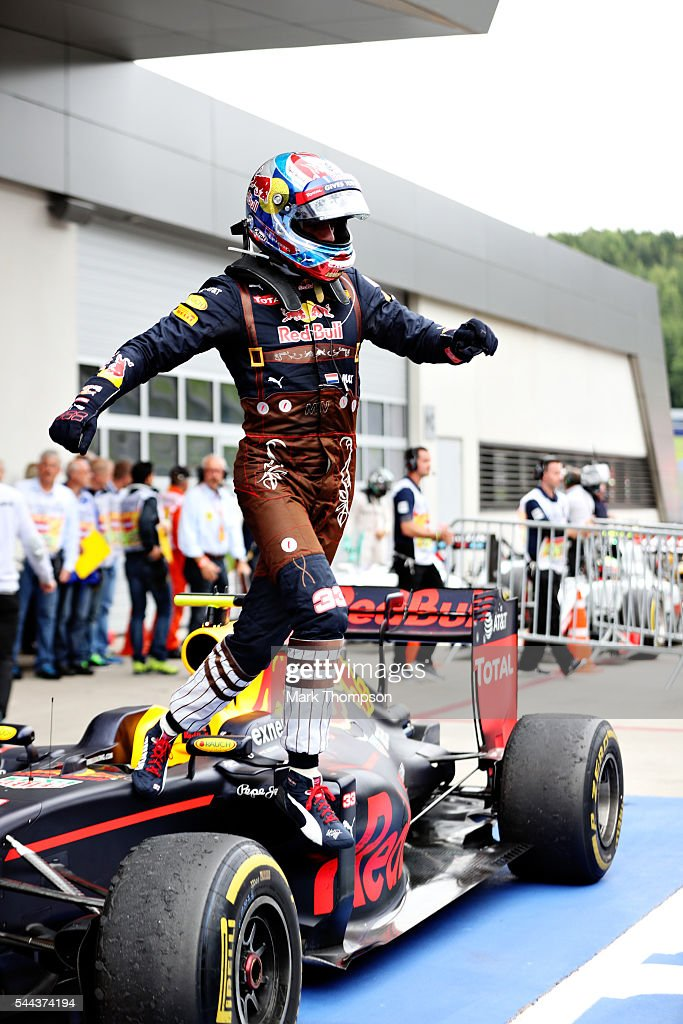 Max Verstappen of Netherlands and Red Bull Racing celebrates in parc ferme during the Formula One Grand Prix of Austria at Red Bull Ring on July 3...