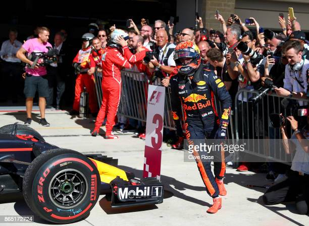 Max Verstappen of Netherlands and Red Bull Racing celebrates in parc ferme before he was demoted to fourth during the United States Formula One Grand...