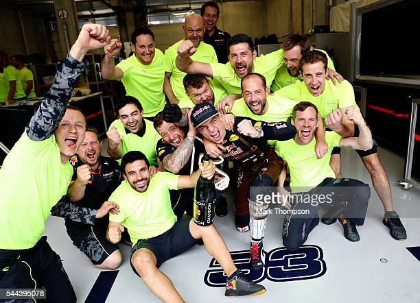 Max Verstappen of Netherlands and Red Bull Racing celebrates with his team during the Formula One Grand Prix of Austria at Red Bull Ring on July 3...