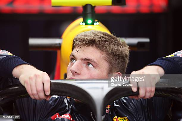 Max Verstappen of Netherlands and Red Bull Racing climbs into his car fitted with the halo in the garage during previews for the Formula One Grand...