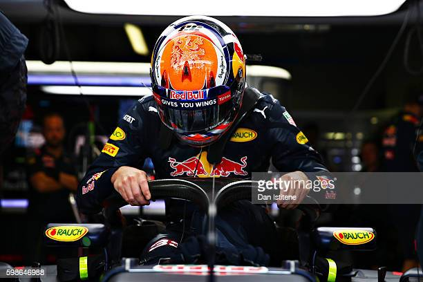 Max Verstappen of Netherlands and Red Bull Racing climbs into his car fitted with the halo during practice for the Formula One Grand Prix of Italy at...