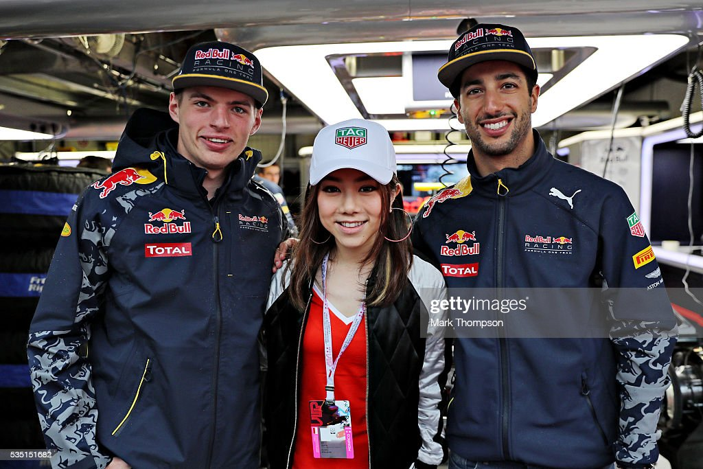 <a gi-track='captionPersonalityLinkClicked' href=/galleries/search?phrase=Max+Verstappen&family=editorial&specificpeople=12813205 ng-click='$event.stopPropagation()'>Max Verstappen</a> of Netherlands and Red Bull Racing, <a gi-track='captionPersonalityLinkClicked' href=/galleries/search?phrase=Daniel+Ricciardo&family=editorial&specificpeople=6547569 ng-click='$event.stopPropagation()'>Daniel Ricciardo</a> of Australia and Red Bull Racing and Chinese singer, G.E.M. outside the Red Bull Racing garage ahead of the Monaco Formula One Grand Prix at Circuit de Monaco on May 29, 2016 in Monte-Carlo, Monaco.