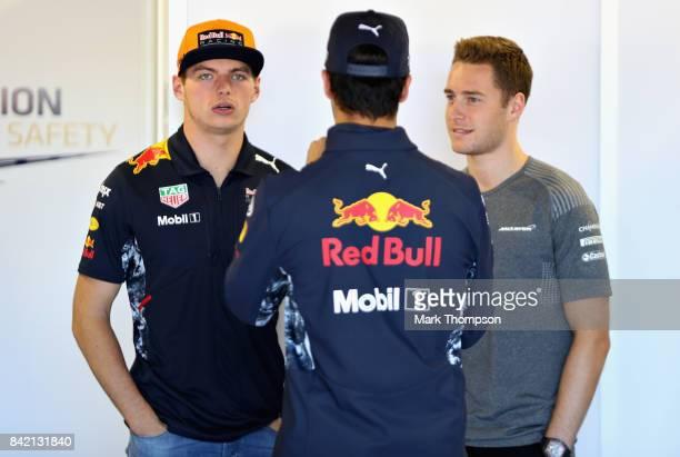 Max Verstappen of Netherlands and Red Bull Racing Daniel Ricciardo of Australia and Red Bull Racing and Stoffel Vandoorne of Belgium and McLaren...