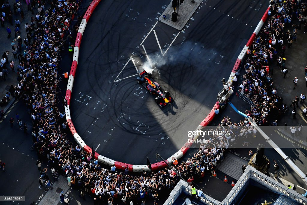Max Verstappen of Netherlands and Red Bull Racing driving the Red Bull Racing RB7 during F1 Live London at Trafalgar Square on July 12, 2017 in London, England. F1 Live London, the first time in Formula 1 history that all 10 teams come together outside of a race weekend to put on a show for the public in the heart of London.
