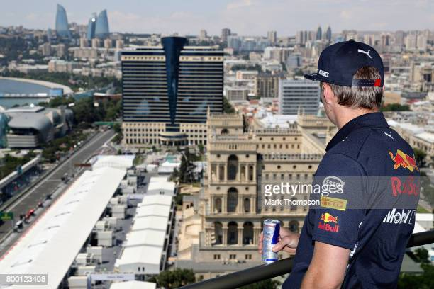 Max Verstappen of Netherlands and Red Bull Racing during practice for the Azerbaijan Formula One Grand Prix at Baku City Circuit on June 23 2017 in...