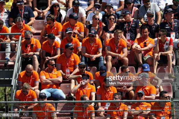 Max Verstappen of Netherlands and Red Bull Racing fans during the Spanish Formula One Grand Prix at Circuit de Catalunya on May 14 2017 in Montmelo...