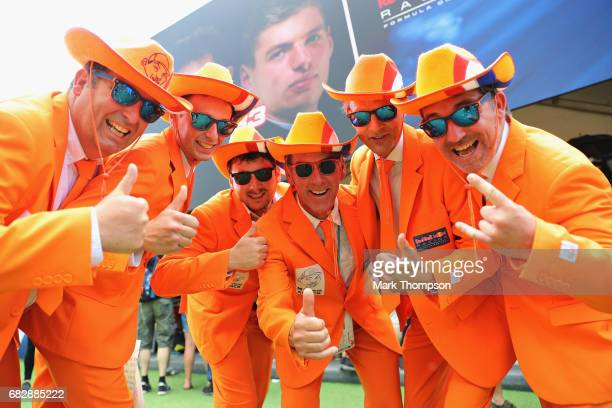 Max Verstappen of Netherlands and Red Bull Racing fans in the fan area during the Spanish Formula One Grand Prix at Circuit de Catalunya on May 14...