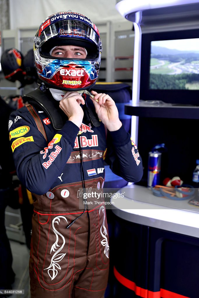 <a gi-track='captionPersonalityLinkClicked' href=/galleries/search?phrase=Max+Verstappen&family=editorial&specificpeople=12813205 ng-click='$event.stopPropagation()'>Max Verstappen</a> of Netherlands and Red Bull Racing gets ready in the garage before practice for the Formula One Grand Prix of Austria at Red Bull Ring on July 1, 2016 in Spielberg, Austria.