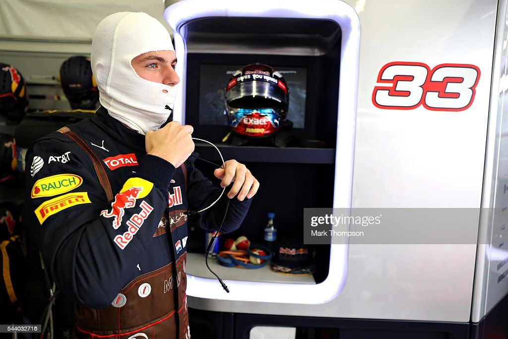 <a gi-track='captionPersonalityLinkClicked' href=/galleries/search?phrase=Max+Verstappen&family=editorial&specificpeople=12813205 ng-click='$event.stopPropagation()'>Max Verstappen</a> of Netherlands and Red Bull Racing gets ready in the garage during practice for the Formula One Grand Prix of Austria at Red Bull Ring on July 1, 2016 in Spielberg, Austria.