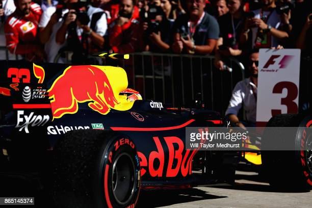Max Verstappen of Netherlands and Red Bull Racing in parc ferme during the United States Formula One Grand Prix at Circuit of The Americas on October...