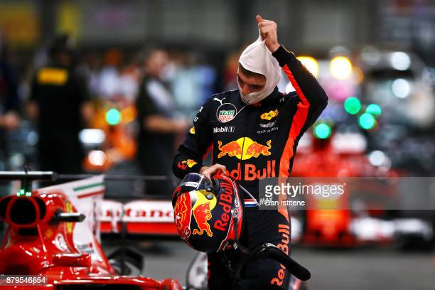 Max Verstappen of Netherlands and Red Bull Racing in parc ferme during the Abu Dhabi Formula One Grand Prix at Yas Marina Circuit on November 26 2017...