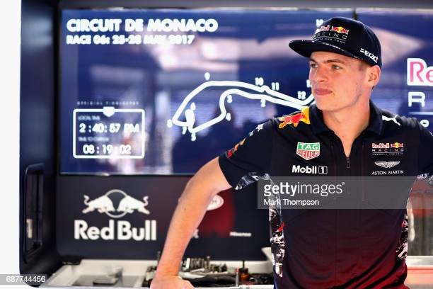 Max Verstappen of Netherlands and Red Bull Racing in the garage during previews for the Monaco Formula One Grand Prix at Circuit de Monaco on May 24...