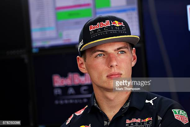 Max Verstappen of Netherlands and Red Bull Racing in the garage during previews ahead of the Formula One Grand Prix of Hungary at Hungaroring on July...
