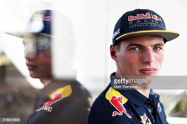 Max Verstappen of Netherlands and Red Bull Racing in the Paddock during previews ahead of the Formula One Grand Prix of Hungary at Hungaroring on...