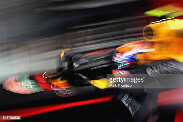 Max Verstappen of Netherlands and Red Bull Racing leaves the garage during practice for the Formula One Grand Prix of Mexico at Autodromo Hermanos...