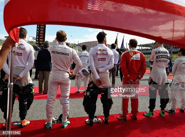 Max Verstappen of Netherlands and Red Bull Racing Nico Rosberg of Germany and Mercedes GP Daniel Ricciardo of Australia and Red Bull Racing Kimi...