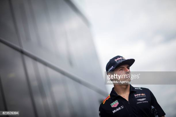 Max Verstappen of Netherlands and Red Bull Racing poses for a photo in the Drivers Press Conference during previews ahead of the Formula One Grand...