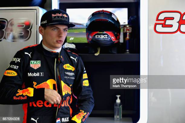 Max Verstappen of Netherlands and Red Bull Racing prepares in the garage during practice for the Australian Formula One Grand Prix at Albert Park on...