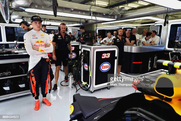 Max Verstappen of Netherlands and Red Bull Racing prepares to drive in the garage during practice for the Bahrain Formula One Grand Prix at Bahrain...