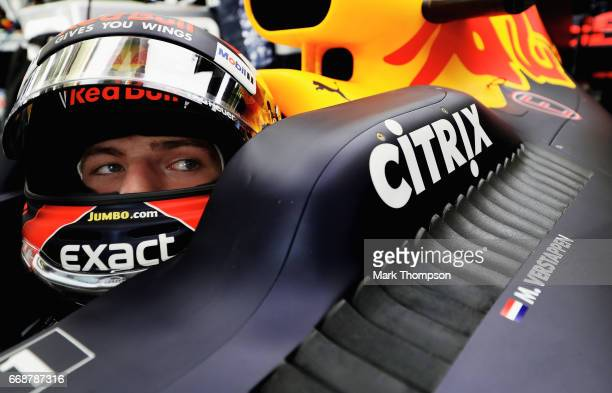 Max Verstappen of Netherlands and Red Bull Racing prepares to drive during final practice for the Bahrain Formula One Grand Prix at Bahrain...