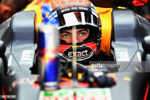 Max Verstappen of Netherlands and Red Bull Racing prepares to drive in the garage during practice for the Spanish Formula One Grand Prix at Circuit...
