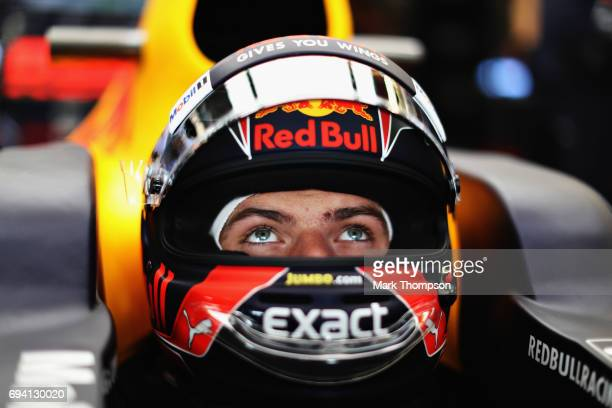 Max Verstappen of Netherlands and Red Bull Racing prepares to drive in the garage during practice for the Canadian Formula One Grand Prix at Circuit...