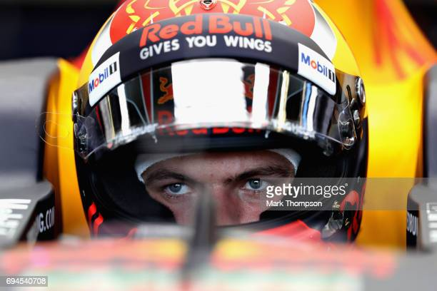 Max Verstappen of Netherlands and Red Bull Racing prepares to drive in the garage during qualifying for the Canadian Formula One Grand Prix at...