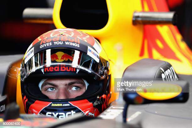 Max Verstappen of Netherlands and Red Bull Racing prepares to drive during practice for the European Formula One Grand Prix at Baku City Circuit on...