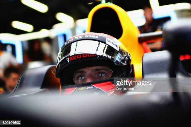 Max Verstappen of Netherlands and Red Bull Racing prepares to drive during practice for the Azerbaijan Formula One Grand Prix at Baku City Circuit on...