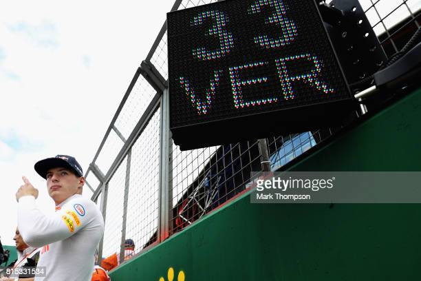 Max Verstappen of Netherlands and Red Bull Racing prepares to drive on the grid during the Formula One Grand Prix of Great Britain at Silverstone on...