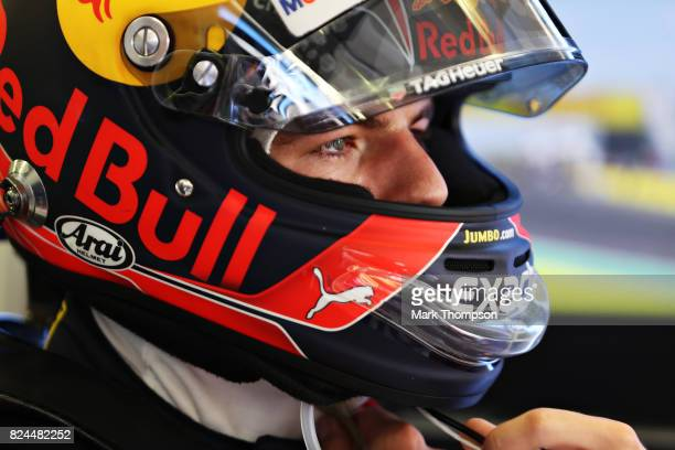 Max Verstappen of Netherlands and Red Bull Racing prepares to drive in the garage before the Formula One Grand Prix of Hungary at Hungaroring on July...