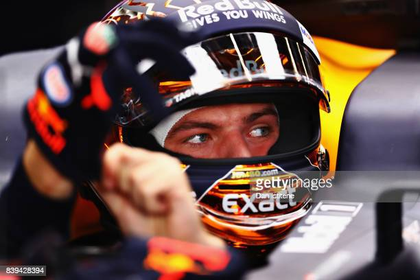 Max Verstappen of Netherlands and Red Bull Racing prepares to drive during final practice for the Formula One Grand Prix of Belgium at Circuit de...