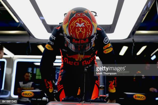 Max Verstappen of Netherlands and Red Bull Racing prepares to drive during qualifying for the Formula One Grand Prix of Italy at Autodromo di Monza...