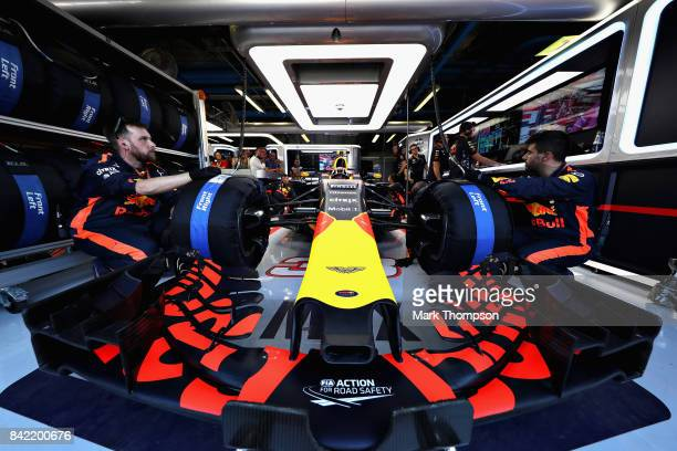 Max Verstappen of Netherlands and Red Bull Racing prepares to drive in the garage before the Formula One Grand Prix of Italy at Autodromo di Monza on...