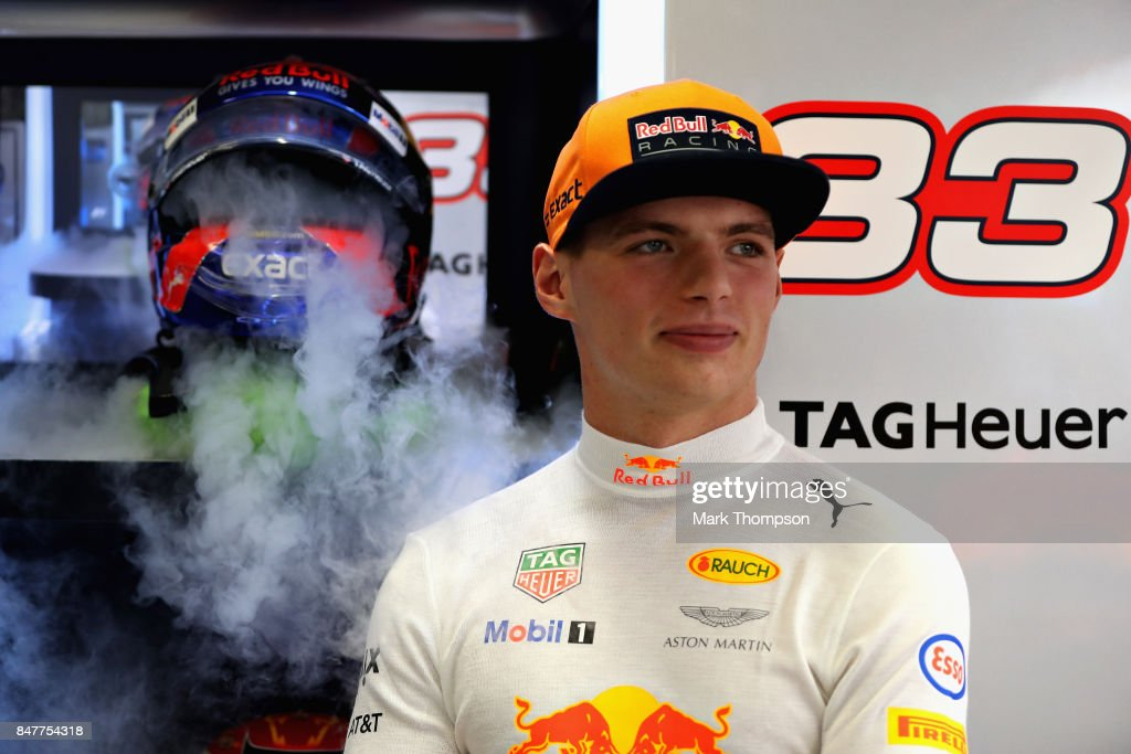 Max Verstappen of Netherlands and Red Bull Racing prepares to drive in the garage during final practice for the Formula One Grand Prix of Singapore at Marina Bay Street Circuit on September 16, 2017 in Singapore.