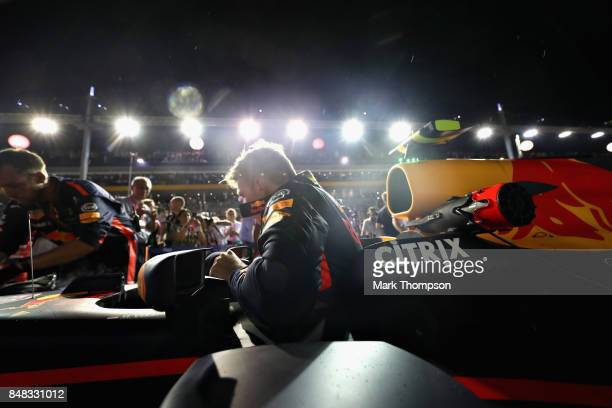 Max Verstappen of Netherlands and Red Bull Racing prepares to drive on the grid before the Formula One Grand Prix of Singapore at Marina Bay Street...
