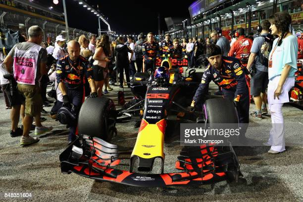 Max Verstappen of Netherlands and Red Bull Racing prepares to drive on the grid during the Formula One Grand Prix of Singapore at Marina Bay Street...