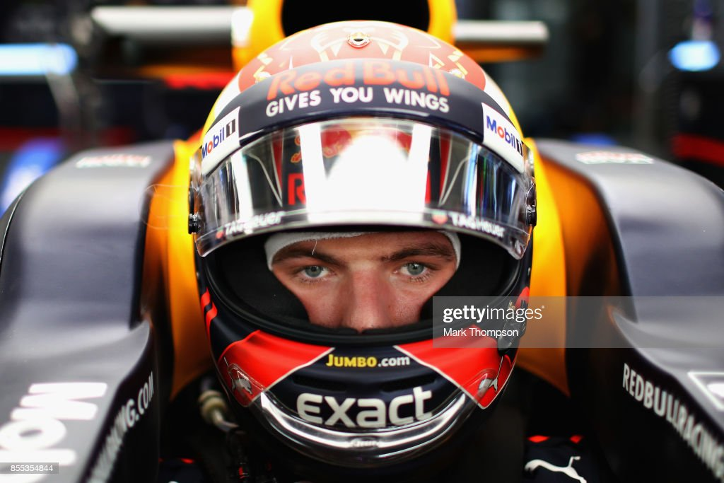 Max Verstappen of Netherlands and Red Bull Racing prepares to drive in the garage during practice for the Malaysia Formula One Grand Prix at Sepang Circuit on September 29, 2017 in Kuala Lumpur, Malaysia.