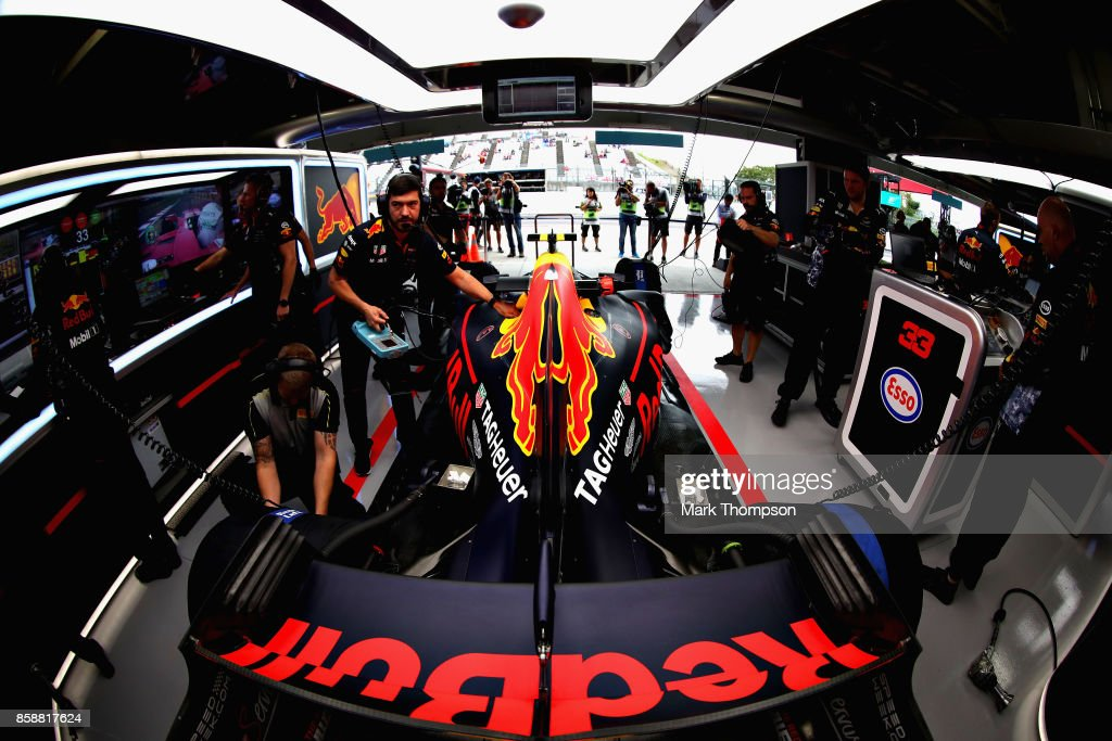 Max Verstappen of Netherlands and Red Bull Racing prepares to drive in the garage during practice for the Formula One Grand Prix of Japan at Suzuka Circuit on October 6, 2017 in Suzuka.