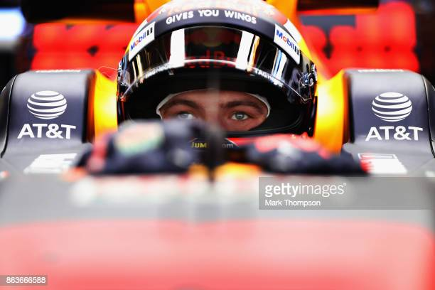Max Verstappen of Netherlands and Red Bull Racing prepares to drive in the garage during practice for the United States Formula One Grand Prix at...
